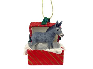 Donkey Gift Box Red Ornament