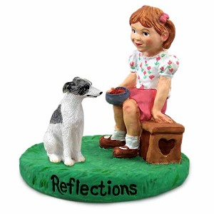 Whippet Gray & White Reflections w/Girl Figurine