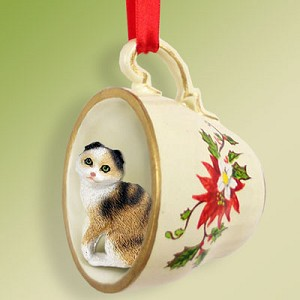 Tortoise & White Scottish Fold Tea Cup Red Holiday Ornament